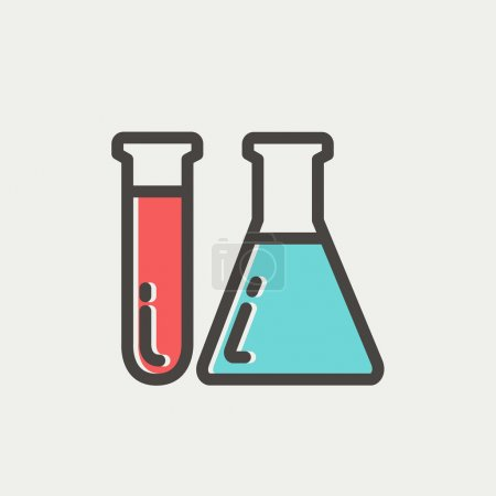 Test tube and beaker thin line icon