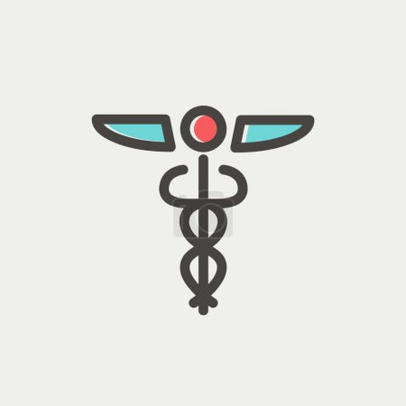 Illustration for Medical symbol icon thin line for web and mobile, modern minimalistic flat design. Vector icon with dark grey outline and offset colour on light grey background - Royalty Free Image
