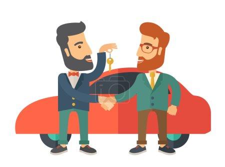 Illustration pour Une vente de voiture remise à un autre homme. Un style contemporain avec une palette pastel. Illustration vectorielle plate isolée sur fond blanc - image libre de droit