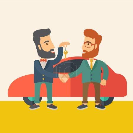 Illustration pour Une vente de voiture remise à un autre homme. Un style contemporain avec une palette pastel, fond beige doux teinté. Illustration vectorielle de design plat. Aménagement carré - image libre de droit