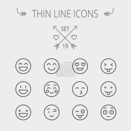 Emoji thin line icon set