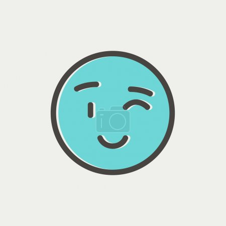Winking emoticon thin line icon