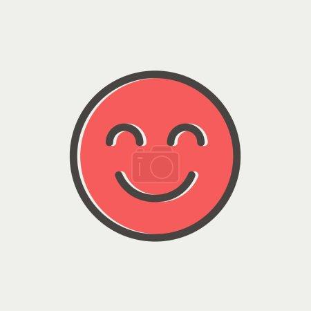 Cute smile thin line icon