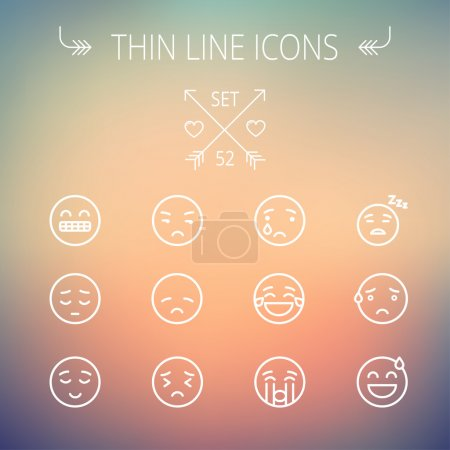 Illustration for Emoji thin line icon set for web and mobile. Set includes-sad, crying, tired, unhappy, exhausted, sleeping, sweating icons. Modern minimalistic flat design. Vector white icon on gradient mesh - Royalty Free Image