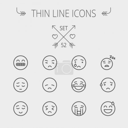 Illustration for Emoji thin line icon set for web and mobile. Set includes- sad, crying, tired, unhappy, exhausted, sleeping, sweating icons. Modern minimalistic flat design. Vector dark grey icon on light grey - Royalty Free Image