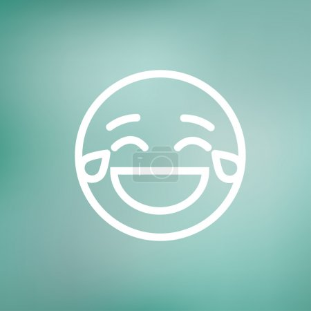Illustration for Laughing emoticon with tears of joy icon thin line for web and mobile, modern minimalistic flat design. Vector white icon on gradient mesh background - Royalty Free Image