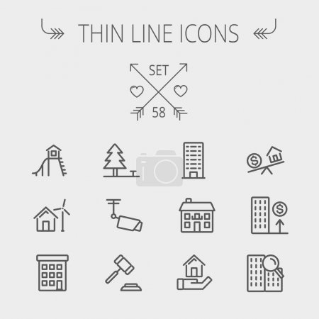 Illustration for Real estate thin line icon set for web and mobile. Set includes- pine tree, antenna, gavel, playhouse, windmill, buildings icons. Modern minimalistic flat design. Vector dark grey icon on light grey - Royalty Free Image