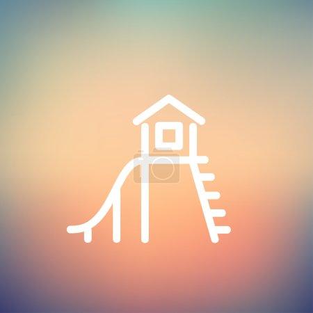 Illustration pour Maison de jeux avec icône coulissante ligne mince pour le web et mobile, design plat minimaliste moderne. Icône vectorielle blanche sur fond gradient mesh - image libre de droit