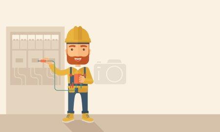 Illustration pour Un électricien hipster portant un casque dur réparant un panneau électrique. Un style contemporain avec une palette pastel, fond beige doux teinté. Illustration vectorielle de design plat. Disposition horizontale avec - image libre de droit
