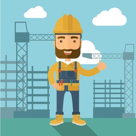 Illustration pour Un ouvrier de la construction debout avec un fond de tour de grue. Un style contemporain avec une palette pastel, un fond bleu doux teinté de nuages désaturés. Illustration vectorielle de design plat. Carré - image libre de droit