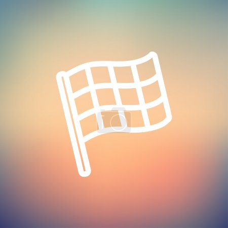 Chekered flag for racing thin line icon