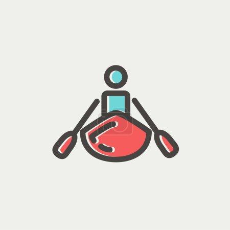 Man doing kayaking thin line icon