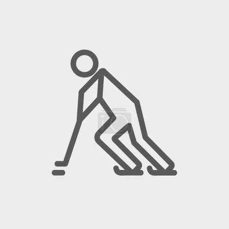Hockey player pushing the puck thin line icon