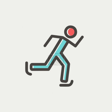 Running man thin line icon