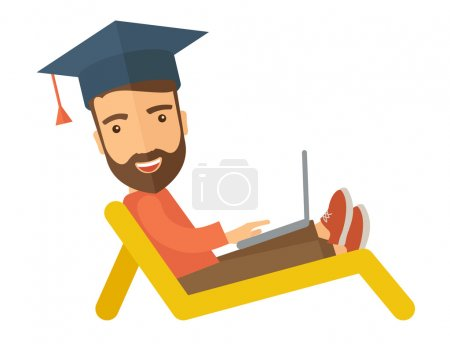Illustration for A young man sitting, wearing graduation cap with laptop on the beach. A Contemporary style. Vector flat design illustration isolated white background. horizontal layout - Royalty Free Image