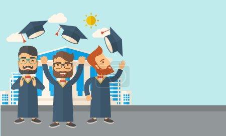 Three men throwing graduation cap.