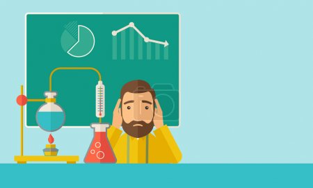 Illustration for A science teacher with scared facial expression works on mixing chemicals for an experiment in the laboratory. A Contemporary style with pastel palette, soft green tinted background. Vector flat - Royalty Free Image