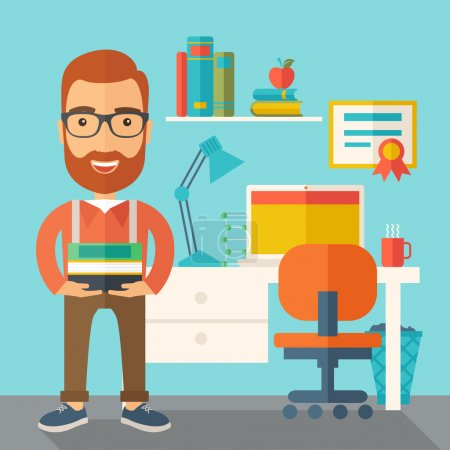 Illustration for A student or lecturer standing carrying a stack of books inside his office. A Contemporary style with pastel palette, soft green tinted background. Vector flat design illustration. Square layout - Royalty Free Image