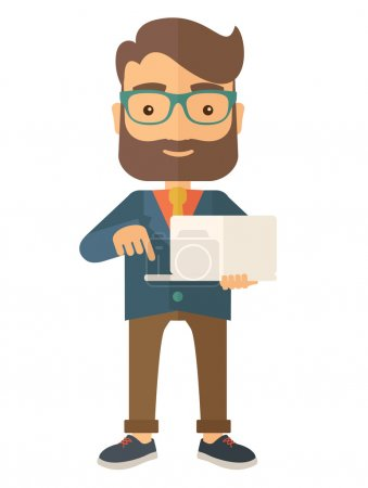 Illustration for A successful man holding a laptop. A man with laptop. A Contemporary style. Vector flat design illustration isolated white background. Vertical layout - Royalty Free Image