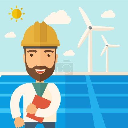 Illustration pour Un homme portant un casque souriant sous la chaleur du soleil avec des panneaux solaires et des moulins à vent. Un style contemporain avec une palette pastel, un fond bleu doux teinté de nuages désaturés. Vecteur plat - image libre de droit