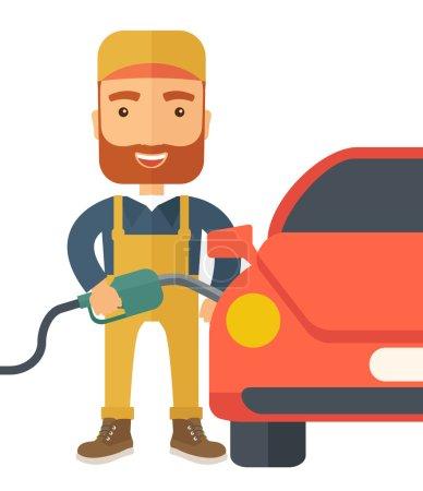 Illustration pour Un heureux garçon à essence branché remplissant le carburant dans la voiture. Un style contemporain. Illustration vectorielle plan isolé fond blanc. Aménagement carré - image libre de droit
