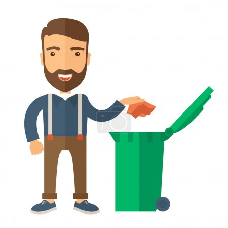 Illustration for A caucasian man throwing a crumpled paper in a green garbage bin. A Contemporary style. Vector flat design illustration isolated white background. Square layout - Royalty Free Image