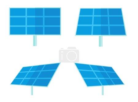 Illustration pour Quatre panneaux solaires pour la production d'énergie alternative. Un style contemporain. Illustration vectorielle plan isolé fond blanc. Aménagement carré - image libre de droit