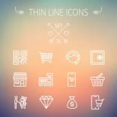 Üzleti, bevásárló vékony vonal ikon készlet
