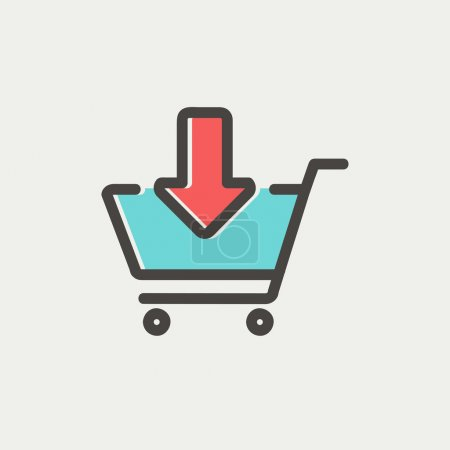 Illustration for Remove from shopping cart icon thin line for web and mobile, modern minimalistic flat design. Vector icon with dark grey outline and offset colour on light grey background - Royalty Free Image