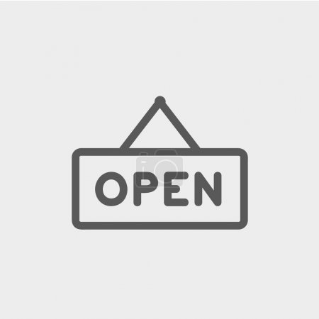 Open sign thin line icon