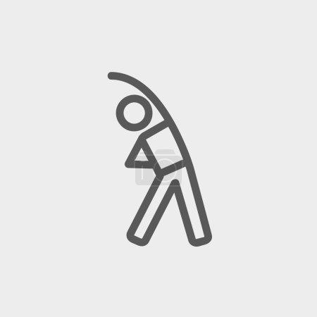 Illustration pour Homme faire ligne mince icône étirement pour le web et mobile, design plat minimaliste moderne. Icône vectorielle gris foncé sur fond gris clair - image libre de droit