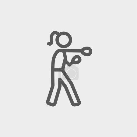 Female Boxer thin line icon