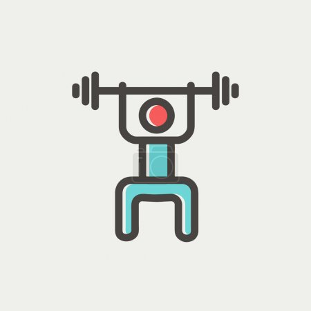 Weightlifter man with barbell thin line icon