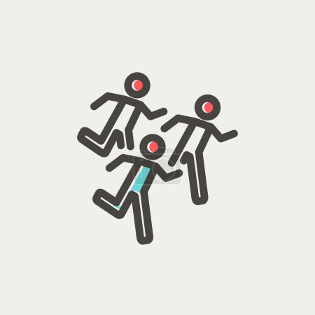 Marathon runners thin line icon