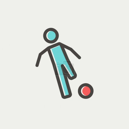 Soccer player to kick the ball thin line icon