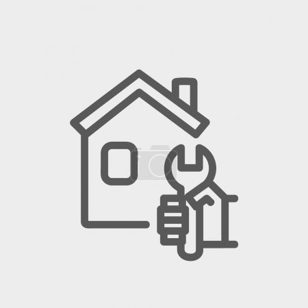 Illustration for House repair icon thin line for web and mobile, modern minimalistic flat design. Vector dark grey icon on light grey background - Royalty Free Image