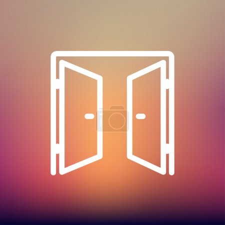 Two doors thin line icon