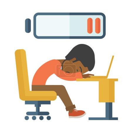 Illustration pour Un employé noir fatigué s'endort à son bureau avec un signe de batte basse sur le dessus de sa tête. Un style contemporain. Illustration vectorielle plan isolé fond blanc. Aménagement carré - image libre de droit