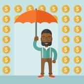 Happy businessman with umbrella