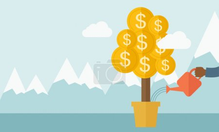 Illustration for A human hand holding a can watering the money tree to grow bigger. Hardworking concept. A contemporary style with pastel palette soft blue tinted background with desaturated clouds. Vector flat design - Royalty Free Image