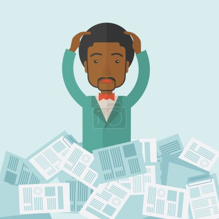 Illustration for A black guy employee has a lot to do work with those papers around him and having a problem on how to meet the deadline of his report. Disappointment Concept. A contemporary style with pastel palette - Royalty Free Image