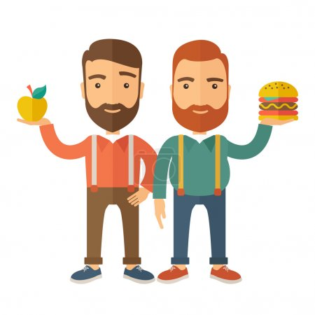 Illustration pour Deux hommes d'affaires debout et comparant Apple à un hamburger dont est la nourriture saine. Un style contemporain avec une palette pastel, fond beige doux teinté. Illustration vectorielle de design plat. Carré - image libre de droit