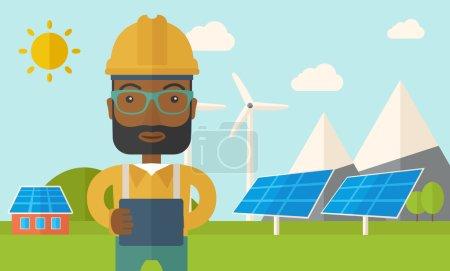 Illustration pour Un jeune homme africain debout alors qu'il tenait un plan directeur surveillant les panneaux solaires avec une éolienne. Un style contemporain avec une palette pastel, fond bleu doux teinté avec des nuages désaturés - image libre de droit