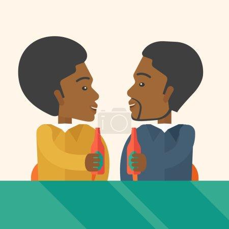 Illustration pour Deux collègues noirs du bureau au pub qui s'amusent à boire de la bière juste pour se détendre et sans stress. Un style contemporain avec une palette pastel, fond beige doux teinté. Conception plate vectorielle - image libre de droit