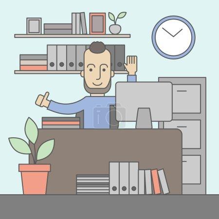 Illustration pour L'homme avec une barbe dans les lunettes travaillant sur son bureau au bureau. Concept de travail réussi. Design plat vectoriel Illustration - image libre de droit