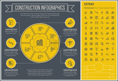 Construction Line Design Infographic Template