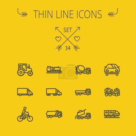Illustration pour Ensemble d'icônes de ligne mince de transport pour web et mobile. L'ensemble comprend : voiture de sport, camions, fourgonnettes, vélo, dépanneuse, malaxeuse, train, icônes de voitures anciennes. Design plat minimaliste moderne. Vecteur sombre - image libre de droit