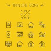 Real estate thin line icon set for web and mobile Set includes- electronic keycard business card graphs new house couple dollar locator pin icons Modern minimalistic flat design Vector dark
