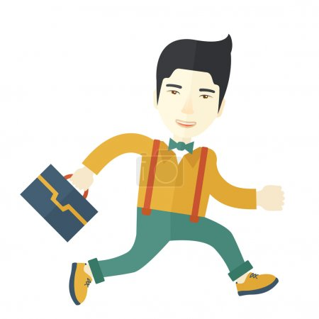 Chinese Buisnessman walking with his briefcase.