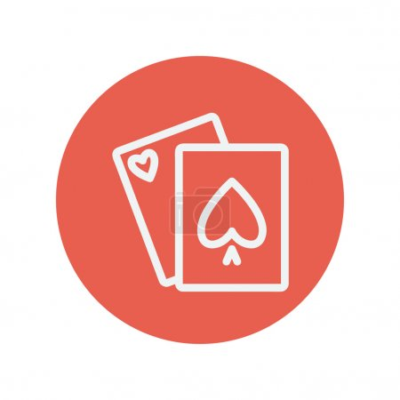 Playing cards thin line icon